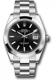 Rolex Men's 41mm Datejust Ref 126300 Stainless Steel Oyster Band Black Index Dial & Smooth Bezel - Unused