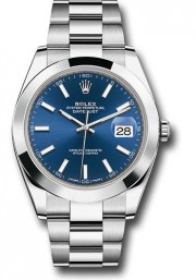 Rolex Men's 41mm Datejust Ref 126300 Stainless Steel Oyster Band Blue Index Dial & Smooth Bezel - Unused