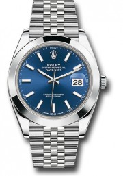 Rolex Men's 41mm Datejust Ref 126300 Stainless Steel Jubilee Band Blue Index Dial & Smooth Bezel - Unused