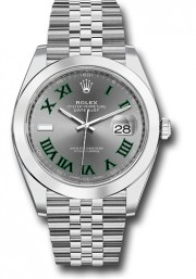 Rolex Men's 41mm Datejust Ref 126300 Stainless Steel Jubilee Band Slate Dial With Green Roman Numerals & Smooth Bezel - Unused