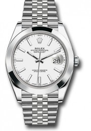 Rolex Men's 41mm Datejust Ref 126300 Stainless Steel Jubilee Band White Index Dial & Smooth Bezel - Unused