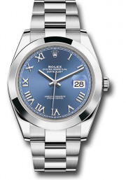 Rolex Men's 41mm Datejust Ref 126300 Stainless Steel Oyster Band Blue Roman Dial & Smooth Bezel - Unused