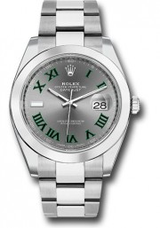 Rolex Men's 41mm Datejust Ref 126300 Stainless Steel Oyster Band Slate Dial With Green Roman Numerals & Smooth Bezel - Unused
