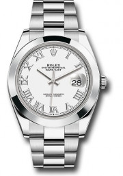 Rolex Men's 41mm Datejust Ref 126300 Stainless Steel Oyster Band White Roman Dial & Smooth Bezel - Unused