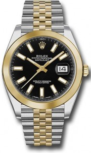 Rolex Datejust 41mm Stainless Steel and  Yellow Gold 126303 Jubilee Band Smooth Bezel Black Stick DIal