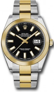 Rolex Datejust 41mm Stainless Steel and Yellow Gold 126303 Oyster Band Smooth Bezel Black Stick DIal