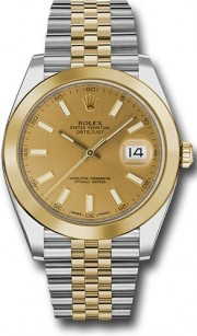 Rolex Datejust 41mm Stainless Steel and Yellow Gold 126303 Jubilee Band Smooth Bezel Champagne Stick DIal