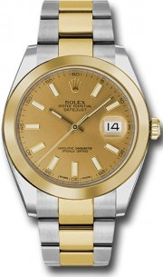 Rolex Datejust 41mm Stainless Steel and  Yellow Gold 126303 Oyster Band Smooth Bezel Champagne Stick DIal