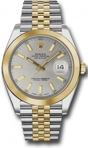 Rolex Datejust 41mm Stainless Steel and  Yellow Gold 126303 Jubilee Band Smooth Bezel Silver Stick DIal