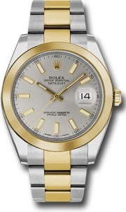 Rolex Datejust 41mm Stainless Steel and  Yellow Gold 126303 Oyster Band Smooth Bezel Silver Stick DIal