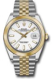 Rolex Datejust 41mm Stainless Steel and  Yellow Gold 126303 Jubilee Band Smooth Bezel White Stick DIal