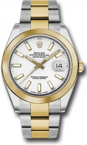 Rolex Datejust 41mm Stainless Steel and  Yellow Gold 126303 Oyster Band Smooth Bezel White Stick DIal