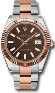 Rolex Datejust 41mm Stainless Steel and Pink Gold 126331 Oyster Band Chocolate Stick Dial