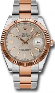 Rolex Datejust 41mm Stainless Steel and Pink Gold 126331 Oyster Band White Stick Dial