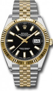Rolex Datejust 41mm Stainless Steel and  Yellow Gold 126333 Jubilee Band Black Stick DIal