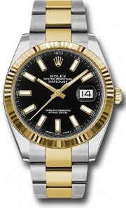 Rolex Datejust 41mm 126333 Stainless Steel & 18K Gold Oyster Band Yellow Gold Fluted Bezel & Black Stick Dial