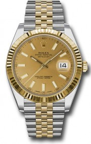 Rolex Datejust 41mm Stainless Steel and  Yellow Gold 126333 Jubilee Band Champagne Stick DIal