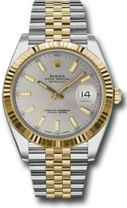 Rolex Datejust 41mm Stainless Steel and  Yellow Gold 126333 Jubilee Band Silver Stick DIal