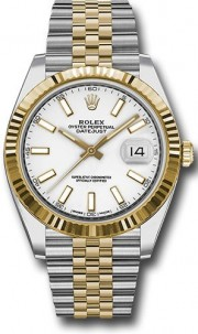 Rolex Datejust 41mm Stainless Steel and  Yellow Gold 126333 Jubilee Band White Stick DIal