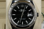 Rolex 41mm Datejust Model 126334 Stainless Steel Watch Factory Black Stick Dial & Fluted White Gold Bezel on Oyster Bracelet