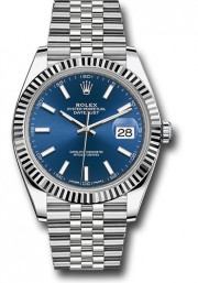 Rolex Datejust 41mm Stainless Steel & 18K White Gold Model 126334 Factory Blue Index Dial Jubilee Band Fluted Bezel - UNUSED