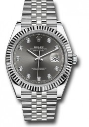 Rolex Datejust 41mm Stainless Steel & 18K White Gold Model 126334 Factory Rhodium Diamond Dial Jubilee Band Fluted Bezel - UNUSED