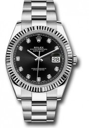 Rolex Datejust 41mm Stainless Steel & 18K White Gold Model 126334 Factory Black Diamond Dial Oyster Band Fluted Bezel - UNUSED