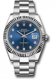 Rolex Datejust 41mm Stainless Steel & 18K White Gold Model 126334 Factory Blue Diamond Dial Oyster Band Fluted Bezel - UNUSED