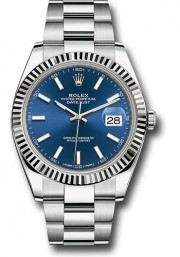 Rolex Datejust 41mm Stainless Steel & 18K White Gold Model 126334 Factory Blue Index Dial Oyster Band Fluted Bezel - UNUSED