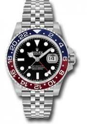 Rolex GMT MASTER II Stainless Steel Jubilee Band Model 126710 With Pepsi Bezel & Black Dial UNUSED