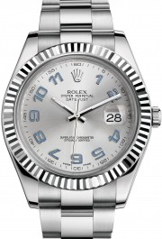 Rolex Datejust II 116334 Stainless Steel Oyster Band White Gold Fluted Bezel & Silver Arabic Dial - 41mm