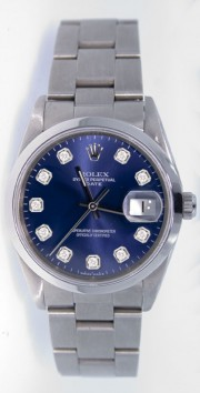 Rolex Date 15200 34mm Stainless Steel Oyster Band Model with a Custom Added Blue Diamond Dial - 2000's