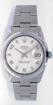 Rolex Date 15200 34mm Stainless Steel Oyster Band Model with White Stick Arabic Dial - 2000's