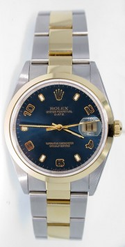 Rolex Date 15203 34mm Stainless Steel & 18k Yellow Gold Oyster Band Model with Blue Stick Arabic Dial - 2000's
