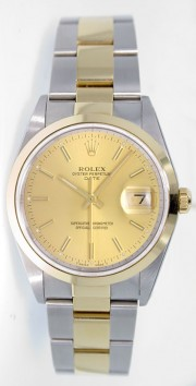 Rolex Date 15203 34mm Stainless Steel & 18k Yellow Gold Oyster Band Model with Champagne Stick Dial - 2000's