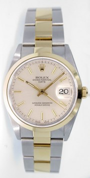 Rolex Date 15203 34mm Stainless Steel & 18k Yellow Gold Oyster Band Model with Silver Stick Dial - 2000's