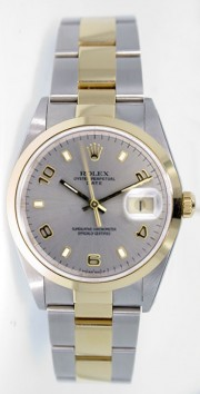 Rolex Date 15203 34mm Stainless Steel & 18k Yellow Gold Oyster Band Model with Silver Stick Arabic Dial - 2000's