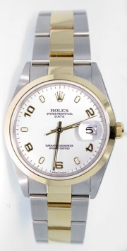 Rolex Date 15203 34mm Stainless Steel & 18k Yellow Gold Oyster Band Model with White Stick Arabic Dial - 2000's