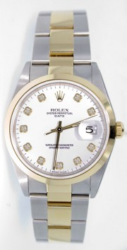 Rolex Date 15203 34mm Stainless Steel & 18k Yellow Gold Oyster Band Model with Custom Added White Diamond Dial - 2000's