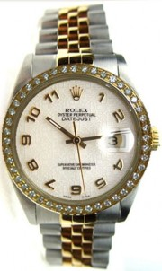 Like New Rolex Datejust Mens Model 16013 Steel and Gold Jubilee Band w/Computer Arabic Dial and Custom Added Bead Set Diamond Bezel