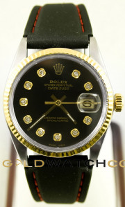 Rolex Men's 36mm Datejust Model 16013 Stainless Steel & 14k Yellow Gold With A Black Rubber Band & Custom Added Black Diamond Dial And A Fluted Bezel