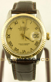 Rolex Men's Datejust Model 16013 Stainless Steel & Yellow Gold With A Brown Leather Band Factory Champagne Roman Dial And A Fluted Bezel