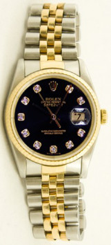 Rolex Men's Datejust Model 16013 Stainless Steel & Gold Jubilee Band With Custom Black Diamond Dial And Fluted Bezel