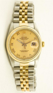 Rolex Men's Stainless Steel & Gold 16013 Datejust Champagne Roman Dial & Gold Fluted Bezel