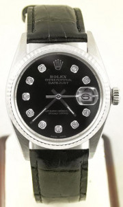 Rolex Men's Steel Datejust 16014 White Gold Fluted Bezel Black Leather Strap & Custom Black Diamond Dial