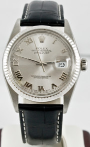 Rolex Men's Datejust Model 16014 Custom Black Crocodile Band With A Silver Roman Dial & 18k White Gold Fluted Bezel