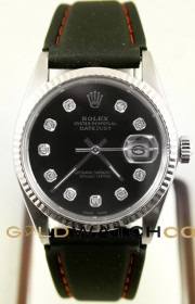 Rolex Men's Datejust Model 16014 Stainless Steel With A Black Rubber Band & Custom Black Diamond Dial And A Fluted Bezel