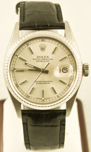 Rolex Men's 16014 Datejust Custom Black Leather Strap Silver Stick Dial & Flute Gold Bezel