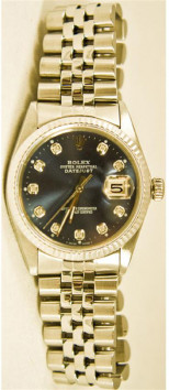 Rolex Men's Datejust Model 16014 Stainless Steel Jubilee Band With A Custom Added Blue Diamond Dial & White Gold Fluted Bezel