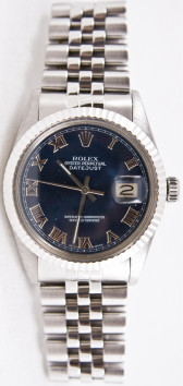 Rolex Watch Men's Stainless Steel Jubilee 16014 Datejust Blue Roman Dial & Gold Fluted Bezel
